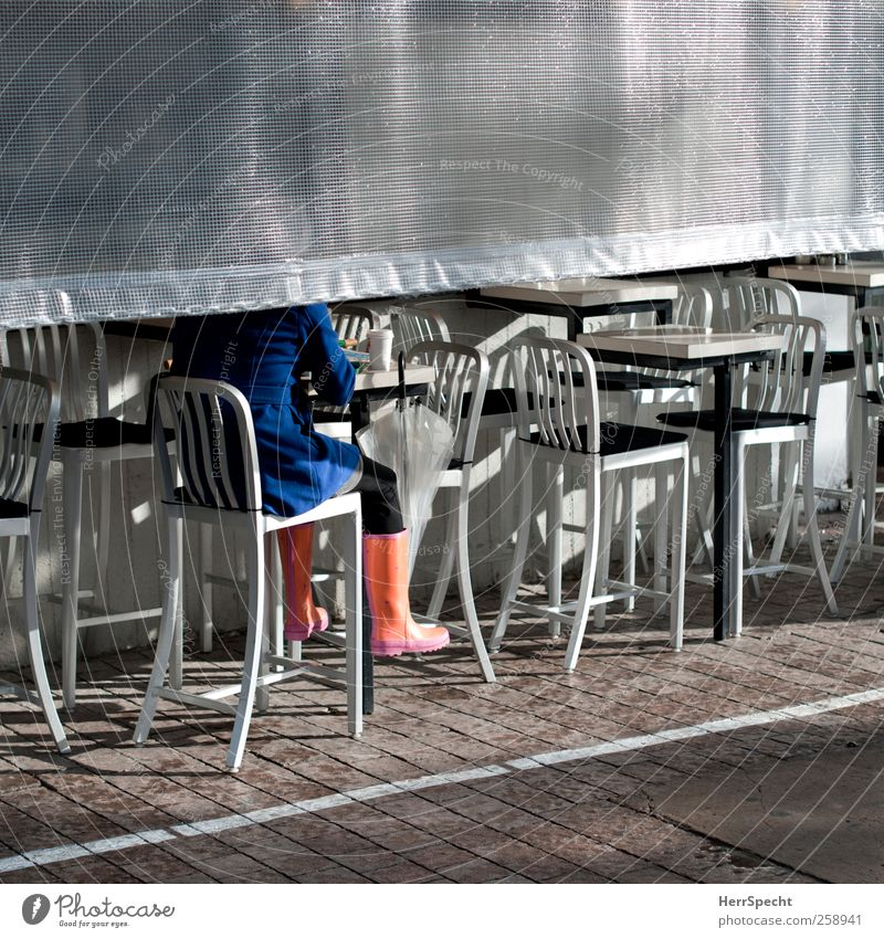 Human being Woman Blue City Sun Adults Rain Sit Drinking Coffee Umbrella Café Silver Coat Perspective Rubber boots
