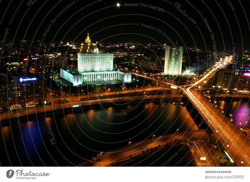 Moscow lights 1 Night High-rise Europe River Light Bridge Street