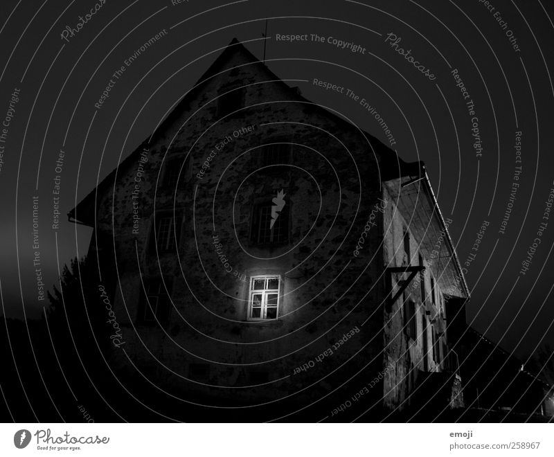 witching hour House (Residential Structure) Detached house Hut Wall (barrier) Wall (building) Facade Window Dark Creepy Black Witching hour Long exposure