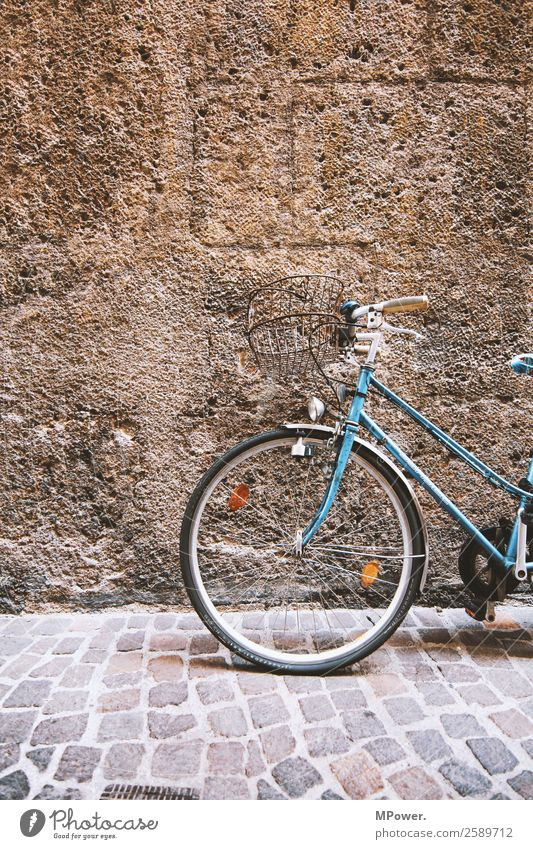 old bike Transport Means of transport Street Old Bicycle Wall (barrier) Ladies' bicycle Blue Parking Colour photo Exterior shot Deserted