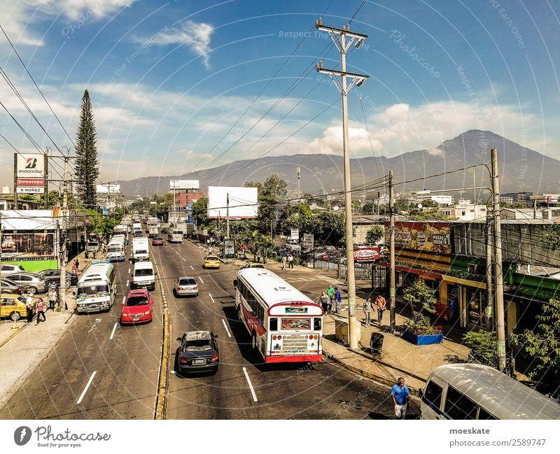 San Salvador, El Salvador Town Capital city Downtown Populated Bus Volcano Subdued colour Multicoloured Exterior shot Day Deep depth of field Bird's-eye view