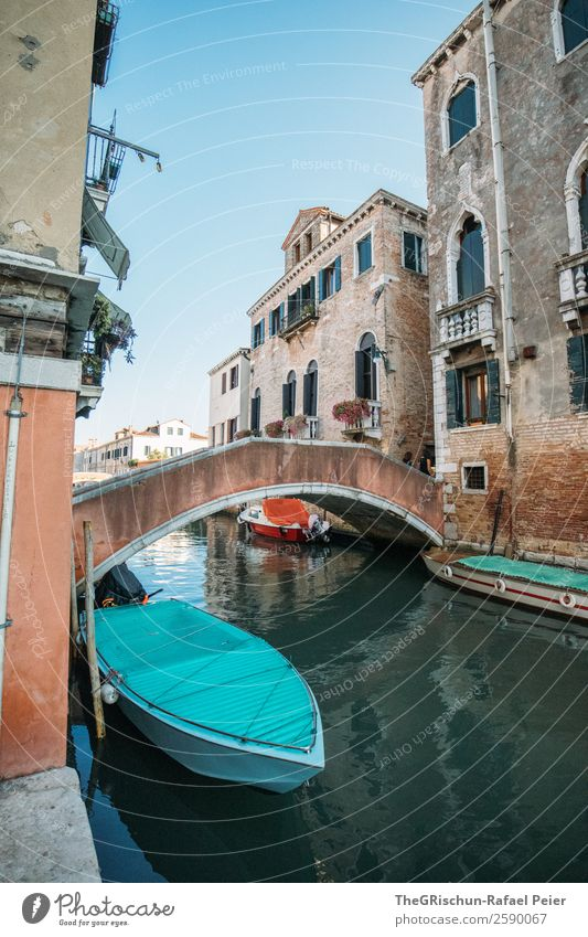 Venice Town Old Blue Turquoise Italy Bridge House (Residential Structure) Watercraft Channel Travel photography Tourism Manmade structures Valued Idyll