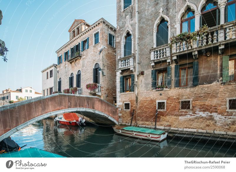 Venice Town Old Esthetic Beautiful Italy Channel Water House (Residential Structure) Manmade structures Watercraft Bridge Balcony Tourism Colour photo