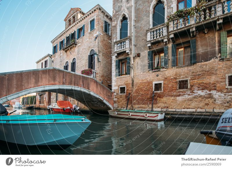 Venice Town Brown Turquoise White Channel Italy Watercraft Bridge Balcony Window House (Residential Structure) Idyll To go for a walk Walking Work of art