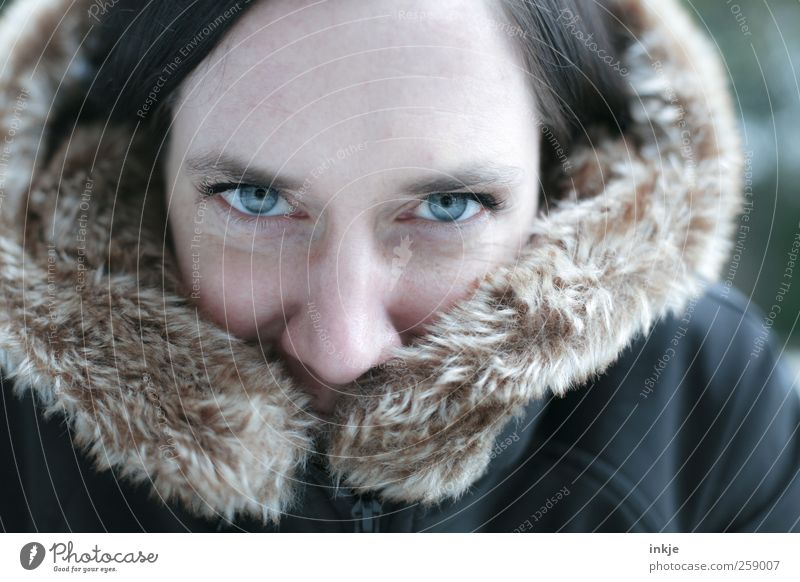 Human being Woman Blue Beautiful Winter Face Adults Life Cold Emotions Warmth Style Moody Climate Happiness Lifestyle