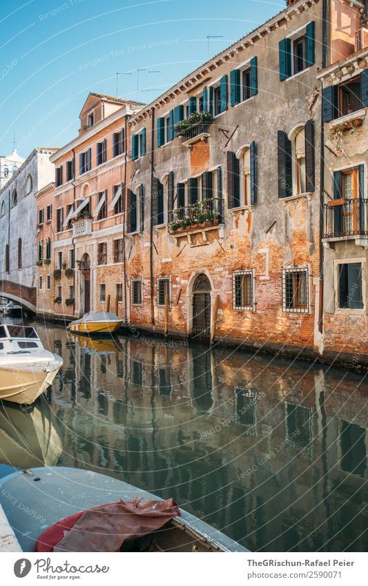 Venice Town Gray Orange Black White Italy Travel photography Channel Watercraft House (Residential Structure) Door Window Tumbledown Tourism Colour photo