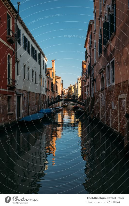 Venice House (Residential Structure) Blue Brown Tourism Channel Water Reflection Bridge Sky Sea water Watercraft Sun Moody Italy Vacation & Travel Old Esthetic