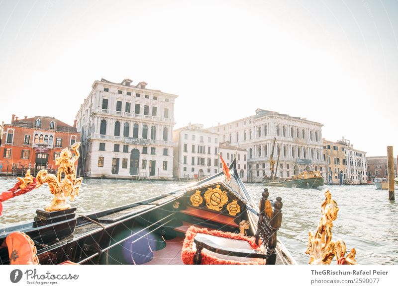 Venice - Gondola Village Town Blue Gold Green Red Black Tourism Ferris wheel Ornament Watercraft House (Residential Structure) Channel Canal Grande Old Esthetic