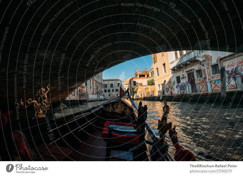 bridge Small Town Port City Tourist Attraction Monument Blue Brown Yellow Gold Red Black Venice Italy Watercraft Navigation Ferris wheel Channel Sea water