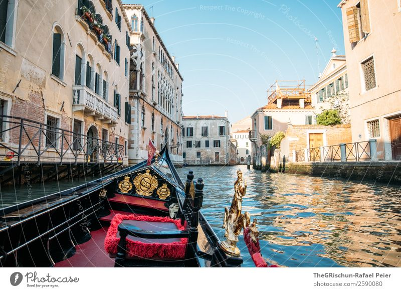 gondola ride Village Small Town Port City Tourist Attraction Monument Blue Brown Gold Red Black Venice Ferris wheel Navigation Romance Italy Vacation & Travel