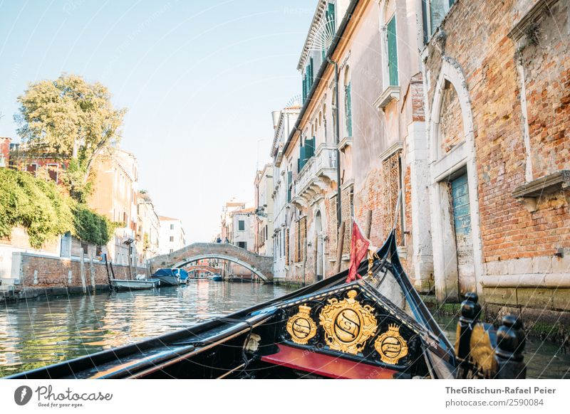gondola Small Town Port City Blue Brown Yellow Gold Red Venice Italy Gondola (Boat) Watercraft Boating trip Channel Building Travel photography