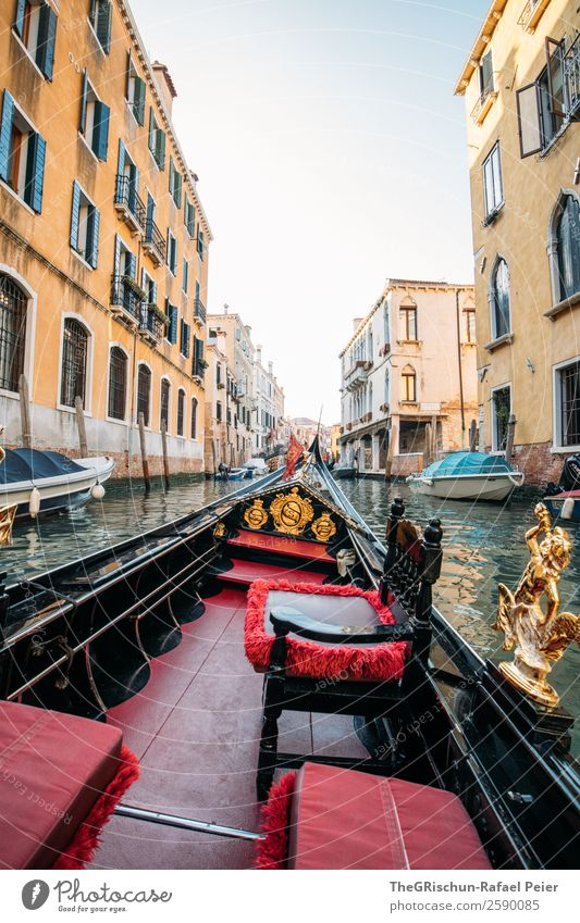 Gondola ride Small Town Port City Blue Brown Yellow Gold Red Gondola (Boat) Italy Venice Ornament Seat Sit Channel Alley Travel photography Discover