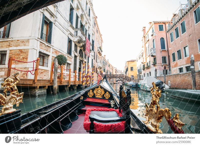 Gondola-Venice Small Town Port City Tourist Attraction Monument Brown Gold Green Red Black White Gondola (Boat) Italy Travel photography Water Navigation