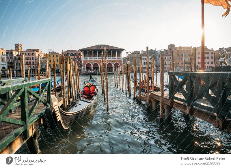 Venice Small Town Port City Tourist Attraction Blue Brown Yellow Green Gondola (Boat) Flag Water Footbridge Italy Vacation & Travel To enjoy To go for a walk