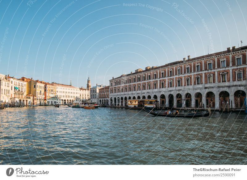 Venice Town Port City Tourist Attraction Monument Blue Brown Yellow Gold Gray White Water Canal Grande Window Building Navigation Watercraft