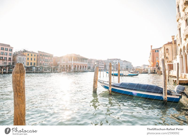 Venice Small Town Port City Tourist Attraction Landmark Blue Brown Yellow Gold Gray Canal Grande Italy House (Residential Structure) Back-light Wooden stake