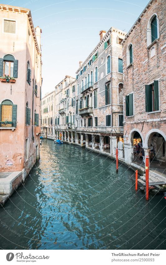 Venice Town Port City Tourist Attraction Landmark Esthetic Blue Yellow Gray Red Alley Channel Footbridge Italy Travel photography House (Residential Structure)