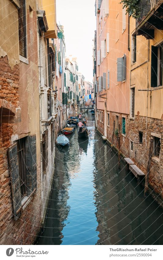 Venice Small Town Port City Tourist Attraction Landmark Blue Brown Yellow Orange Black Italy Water Gondola (Boat) Gondolier House (Residential Structure) Alley