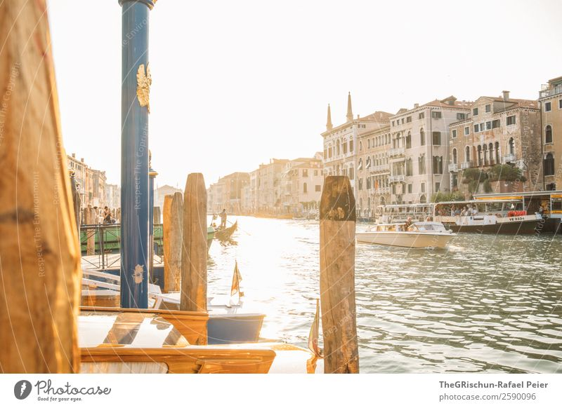 Venice Small Town Port City Tourist Attraction Landmark Yellow Gold Green Black White Italy Light Back-light Sunset Moody Canal Grande