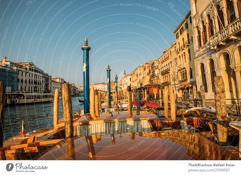 Venice Small Town Port City Blue Yellow Gold Red Black Building Wooden stake River Canal Grande Travel photography Italy Water Architecture Colour photo