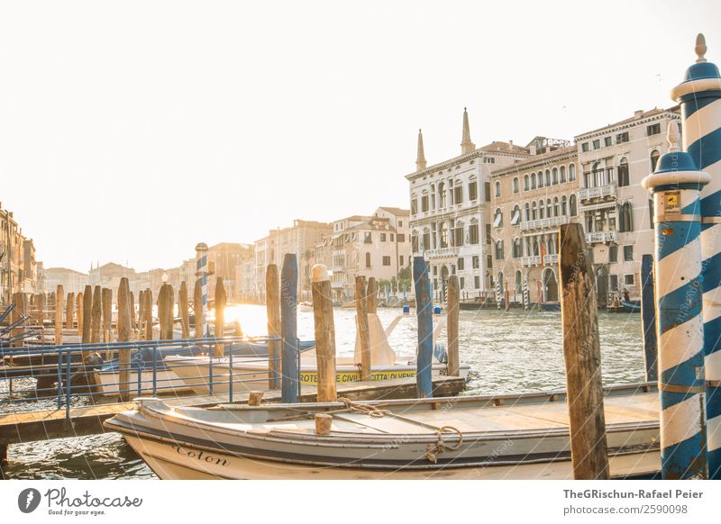 Canal Grande - Venice Small Town Port City Tourist Attraction Blue Brown Yellow Gold Italy Travel photography Wooden stake Watercraft Footbridge