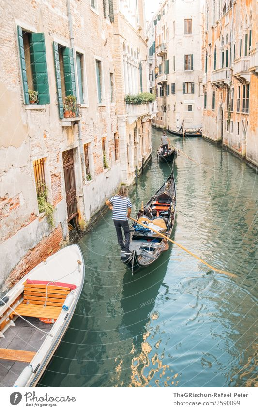 Venice - Gondoliere Small Town Port City Tourist Attraction Blue Yellow Gold Green Silver White Italy Water Gondola (Boat) Channel Watercraft Navigation