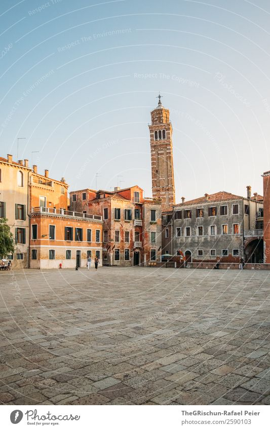 Venice Small Town Port City House (Residential Structure) Places Tower Brown Yellow Gold White Moody Church Building Old times Paving stone Esthetic
