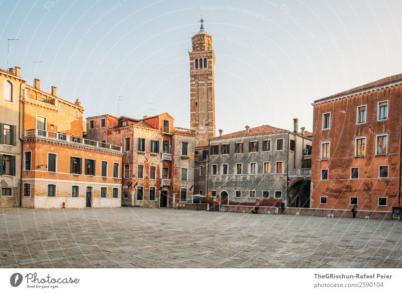 Venice Small Town Port City Brown Yellow Gold Red White Places Church House (Residential Structure) Paving stone Window Travel photography Italy Tourism