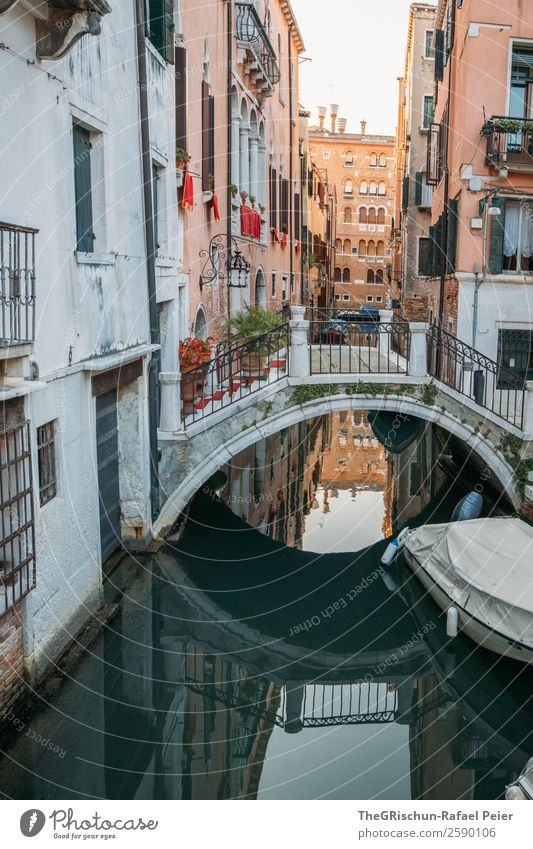 Bridge - Reflection Small Town Port City Tourist Attraction Yellow Gold Gray Green Red Black White Venice Italy Watercraft Navigation Building Moody Sunlight