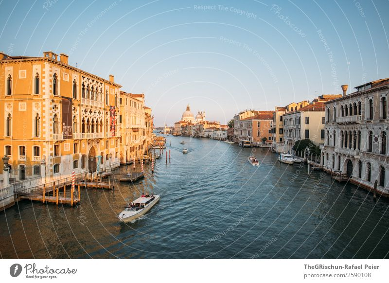 Grand Canal Small Town Port City Tourist Attraction Landmark Blue Brown Yellow Gold White Venice Italy Navigation Watercraft Canal Grande