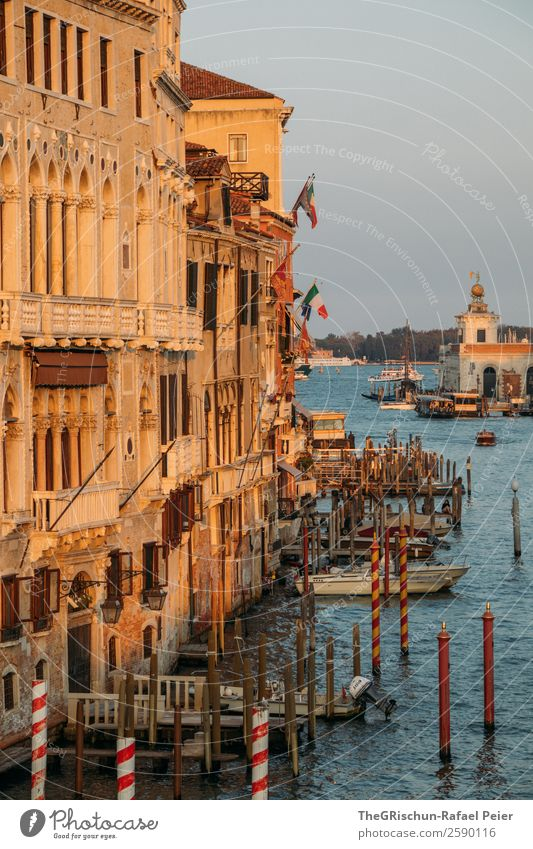 Venice Town Port City Blue Brown Yellow Gold Moody Wooden stake Footbridge Church House (Residential Structure) Water Italy Watercraft Flag Colour photo