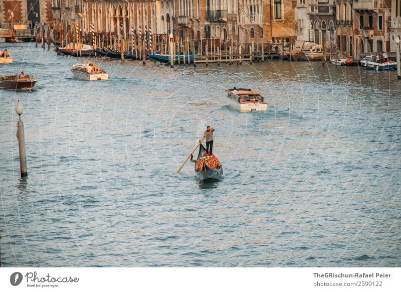 Venice Port City Downtown Blue Brown Yellow Gold White Gondolier Water Watercraft Tourism Navigation Italy Oar Rowboat Canal Grande Exterior shot Detail
