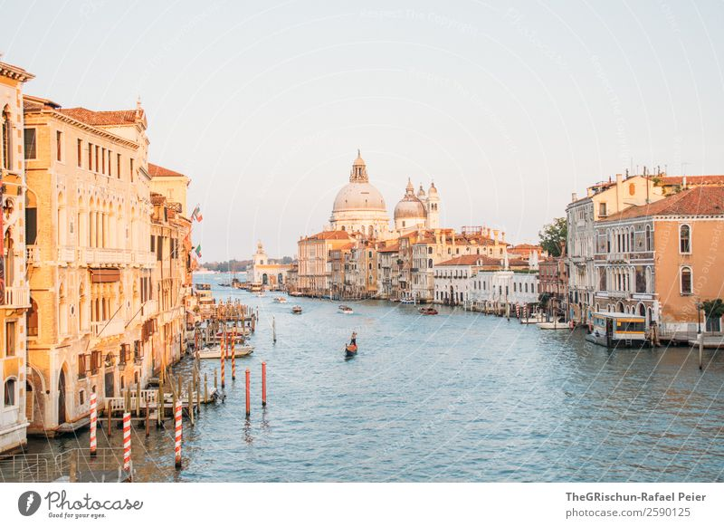 Grand Canal Small Town Port City Downtown Blue Brown Yellow Venice Canal Grande Italy Water Moody Travel photography Watercraft Footbridge Colour photo