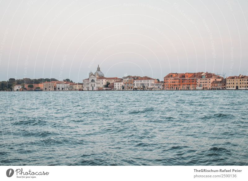 Venice Small Town Port City Downtown Blue Brown Water House (Residential Structure) Church Twilight Italy Exterior shot Deserted Copy Space top
