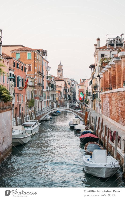 canal Small Town Port City Blue Brown White Channel Bridge Watercraft Navigation Church Manmade structures Venice Italy Colour photo Exterior shot