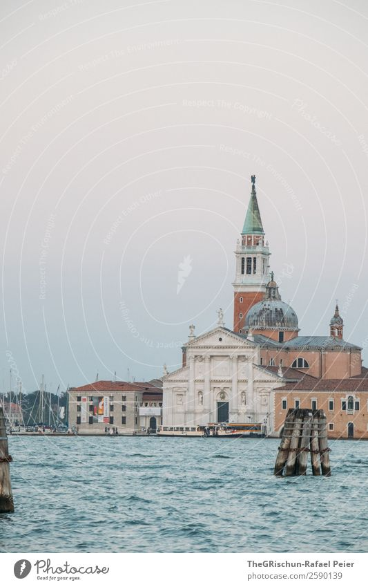 church Small Town Port City Blue Brown Turquoise Water Church Dome Venice Italy Church spire Colour photo Deserted Copy Space bottom Evening Twilight Wide angle