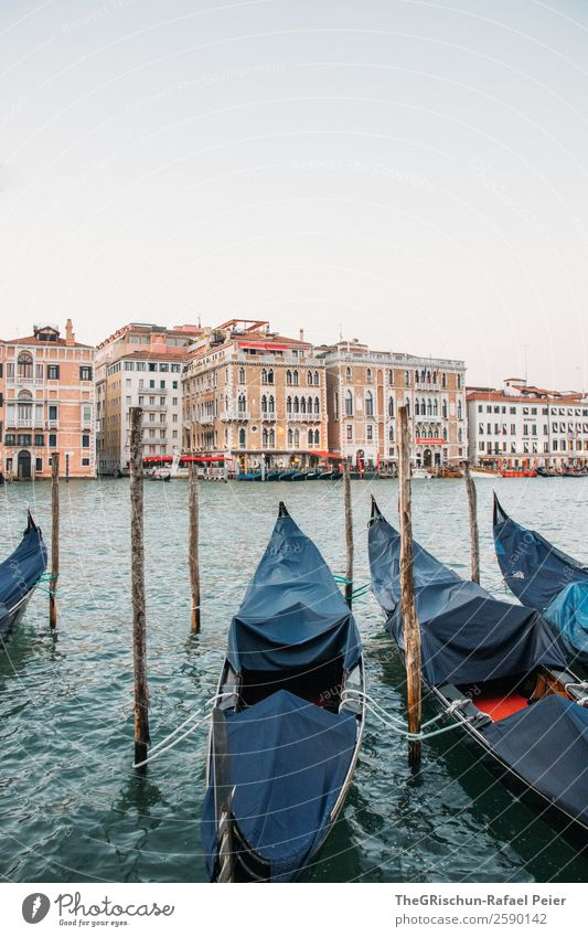 gondola Small Town Port City Blue Brown Red Venice Italy Gondola (Boat) House (Residential Structure) Wooden stake Footbridge Exterior shot Deserted