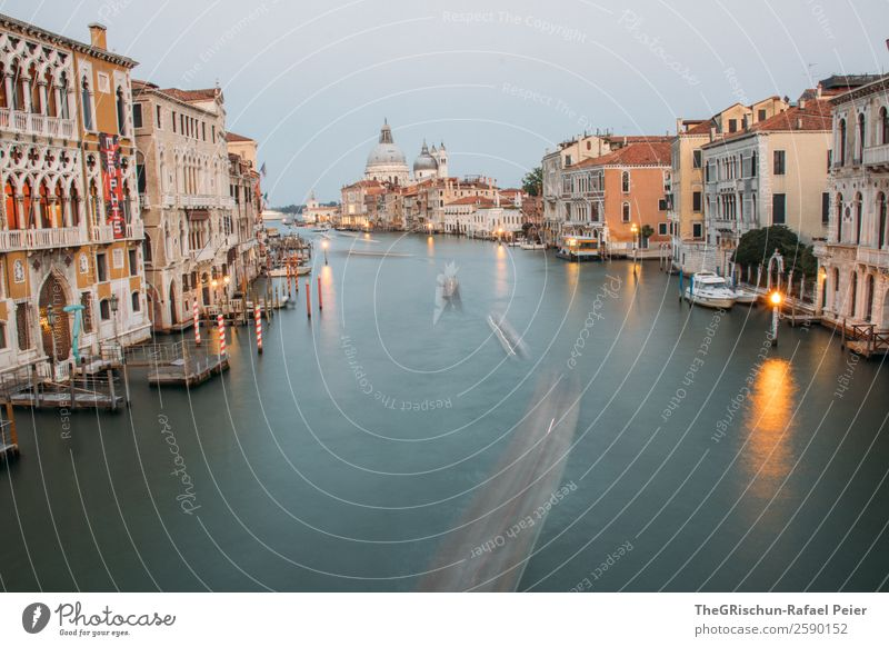 Venice Small Town Port City Blue Yellow Orange Water Watercraft Long exposure Light Reflection Italy Dome Colour photo Deserted Copy Space top Copy Space bottom