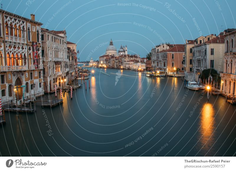 Venice Small Town Port City Blue Yellow Gold Water Light Italy Canal Grande Dome Reflection Exterior shot Deserted Copy Space top Copy Space bottom Twilight