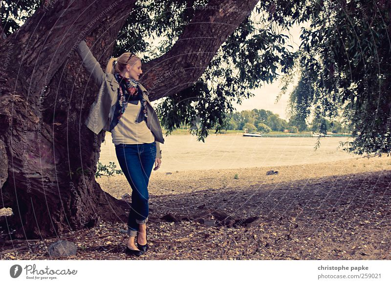 Human being Nature Youth (Young adults) Beautiful Tree Adults Coast Park Large Growth Stand Retro 18 - 30 years Idyll Young woman River bank