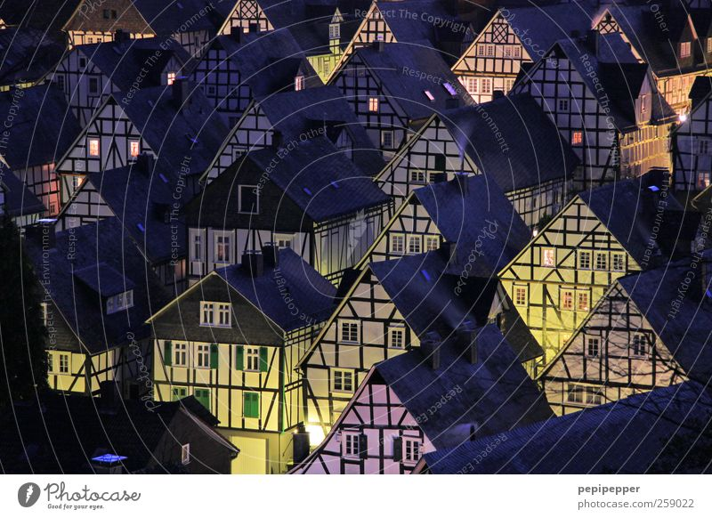 Freudenberg nights are long... Living or residing House (Residential Structure) Night life Village Small Town Downtown Old town Skyline Populated Detached house