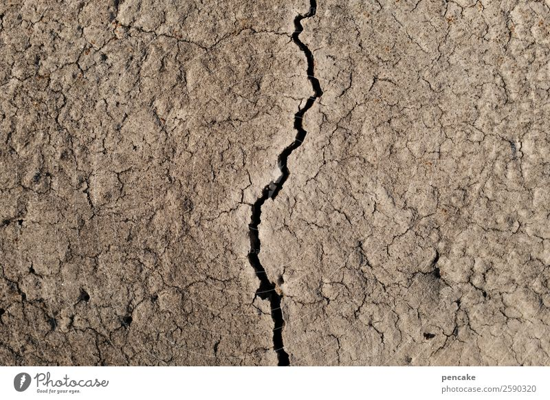 arid Nature Elements Earth Drought Authentic Broken Gloomy Dry Brown Crack & Rip & Tear Life line Arid region Desert Death Colour photo Subdued colour