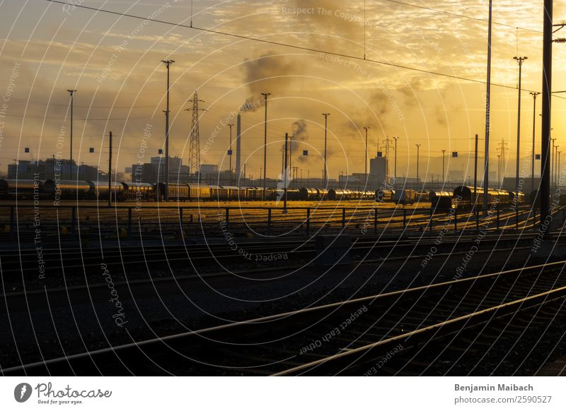 Glowing Heaven above the Industry mute Switzerland Factory Train station Chimney Transport Logistics Train travel Rail transport Railroad Freight train