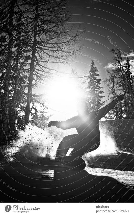 Sun Winter Mountain Emotions Snow Sports Leisure and hobbies Esthetic Joie de vivre (Vitality) Cool (slang) Posture Athletic Passion Curve Swing Snowboard