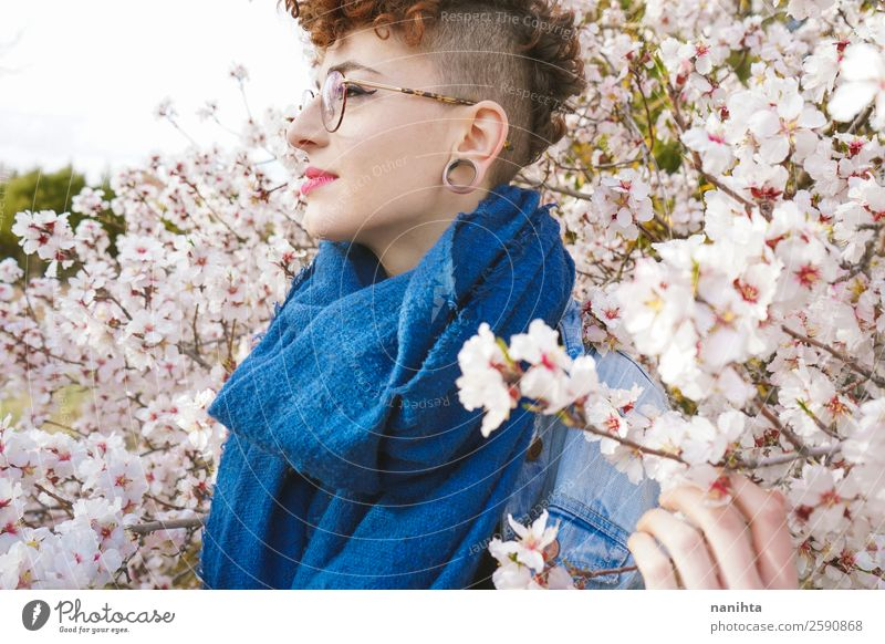 Young redhead woman surrounded by flowers Lifestyle Style Joy Happy Beautiful Hair and hairstyles Healthy Wellness Freedom Human being Feminine Young woman