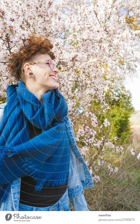 Young redhead woman surrounded by flowers Lifestyle Style Joy Happy Beautiful Hair and hairstyles Freedom Human being Feminine Young woman Youth (Young adults)