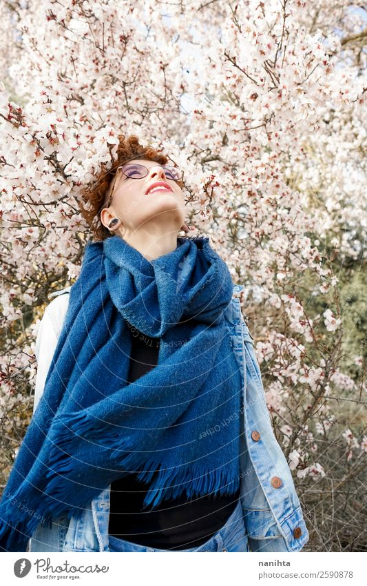 Young and redhead woman surrounded by flowers Lifestyle Style Joy Happy Beautiful Hair and hairstyles Healthy Freedom Human being Feminine Young woman