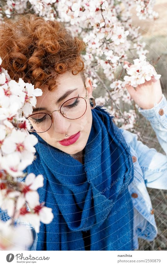 Young and redhead woman surrounded by flowers Lifestyle Style Joy Happy Beautiful Hair and hairstyles Freedom Human being Feminine Young woman