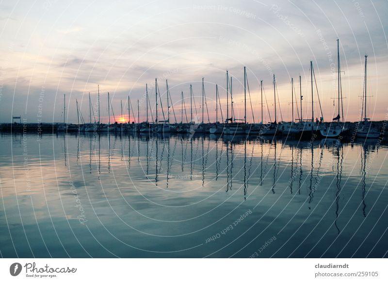 amplitude Port City Navigation Sailboat Watercraft Harbour Yacht harbour Esthetic Beautiful Dusk Mast Symmetry Ocean Poel Island Germany