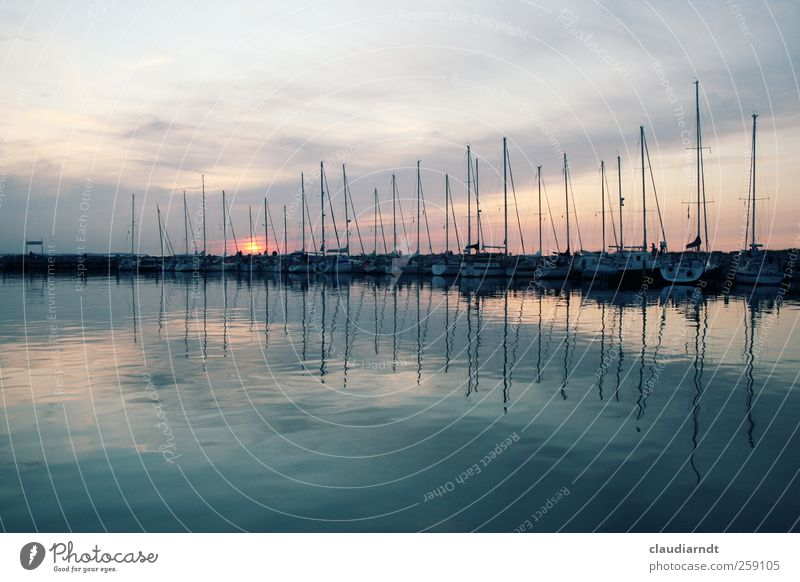 Sky Water Beautiful Ocean Calm Germany Watercraft Esthetic Harbour Navigation Jetty Dusk Symmetry Mast Surface of water Sailboat